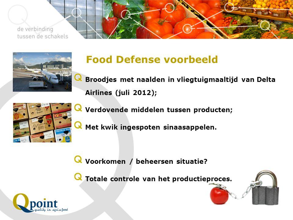 Food Defense voorbeeld Broodjes met naalden in vliegtuigmaaltijd van Delta Airlines (juli 2012); Verdovende middelen tussen producten; Met kwik ingesp