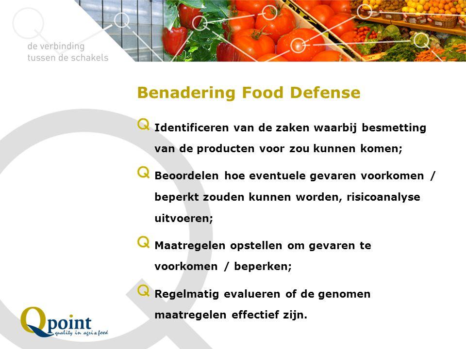 Benadering Food Defense Identificeren van de zaken waarbij besmetting van de producten voor zou kunnen komen; Beoordelen hoe eventuele gevaren voorkom
