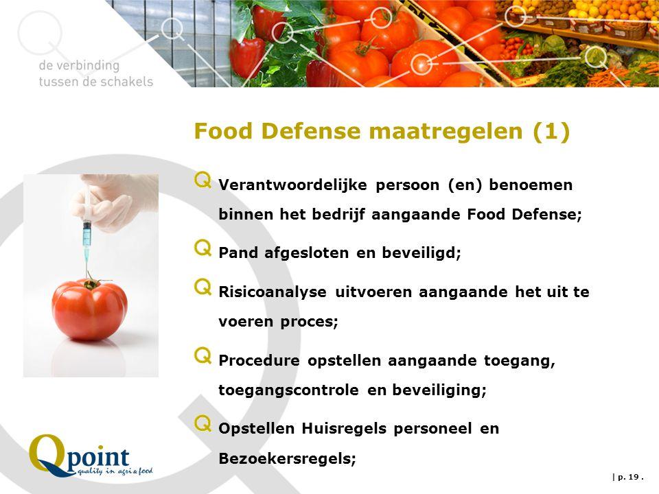 Food Defense maatregelen (1) Verantwoordelijke persoon (en) benoemen binnen het bedrijf aangaande Food Defense; Pand afgesloten en beveiligd; Risicoan