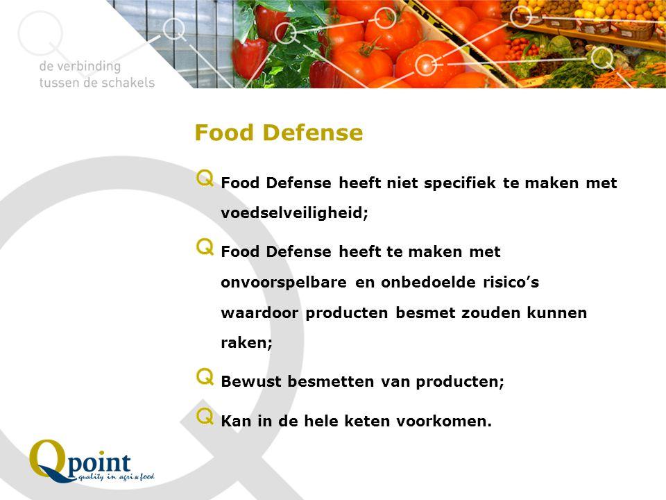 Food Defense maatregelen (1) Verantwoordelijke persoon (en) benoemen binnen het bedrijf aangaande Food Defense; Pand afgesloten en beveiligd; Risicoanalyse uitvoeren aangaande het uit te voeren proces; Procedure opstellen aangaande toegang, toegangscontrole en beveiliging; Opstellen Huisregels personeel en Bezoekersregels; | p.