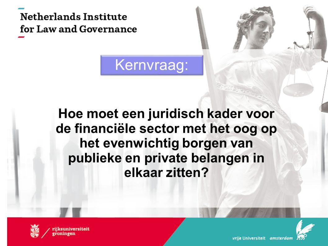 Kernvraag: Hoe moet een juridisch kader voor de financiële sector met het oog op het evenwichtig borgen van publieke en private belangen in elkaar zit