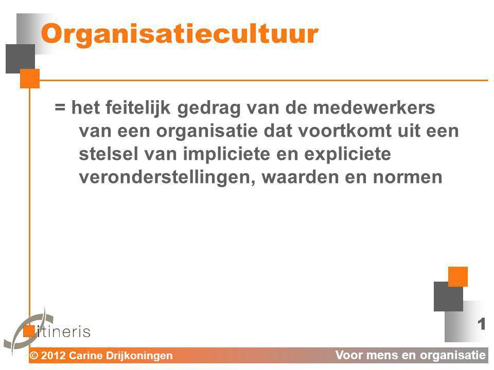 © 2012 Carine Drijkoningen Voor mens en organisatie Organisatiecultuur = het feitelijk gedrag van de medewerkers van een organisatie dat voortkomt uit