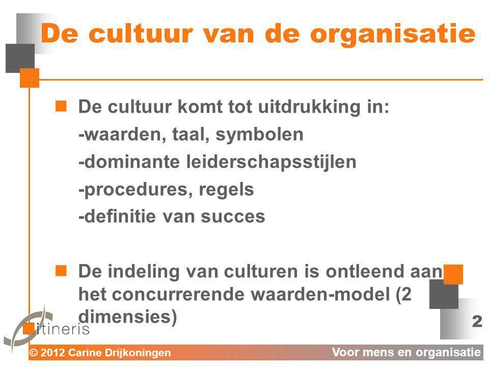 © 2012 Carine Drijkoningen Voor mens en organisatie De cultuur van de organisatie De cultuur komt tot uitdrukking in: -waarden, taal, symbolen -domina