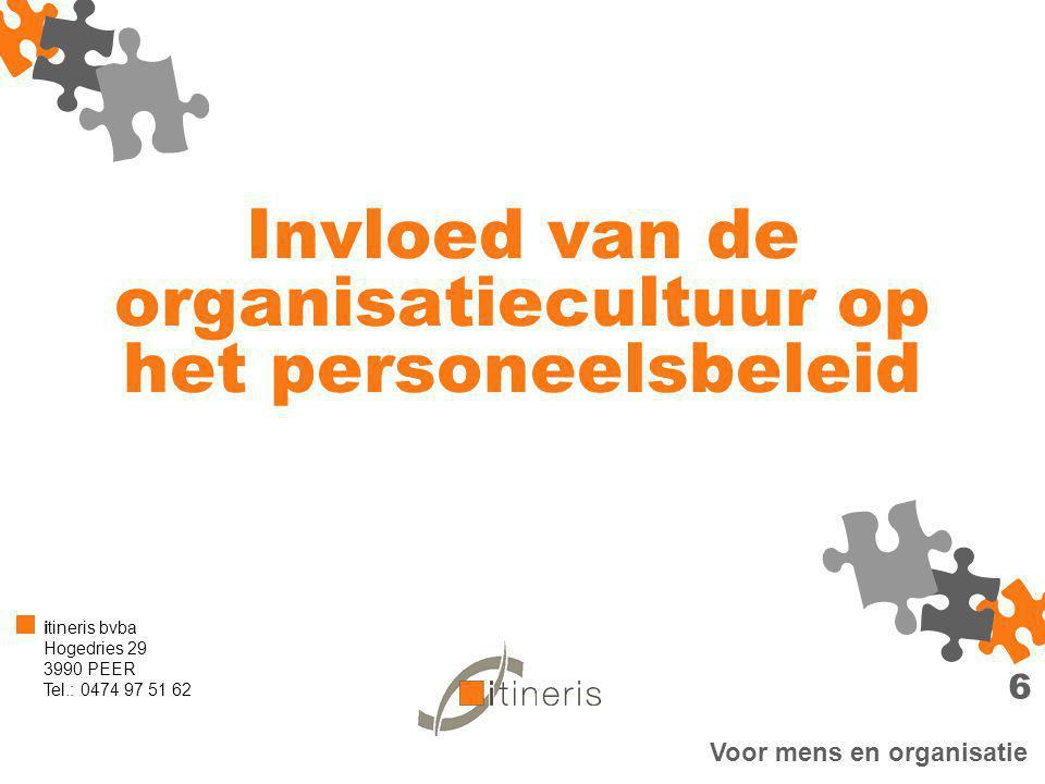 Voor mens en organisatie itineris bvba Hogedries 29 3990 PEER Tel.: 0474 97 51 62 Invloed van de organisatiecultuur op het personeelsbeleid 6
