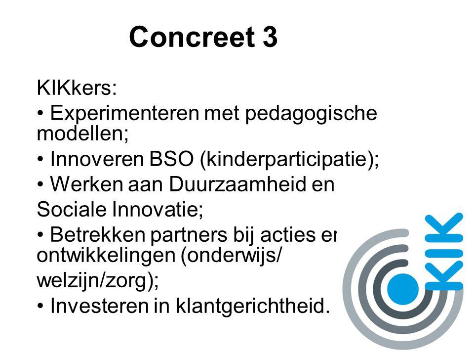 Concreet 3 KIKkers: Experimenteren met pedagogische modellen; Innoveren BSO (kinderparticipatie); Werken aan Duurzaamheid en Sociale Innovatie; Betrek