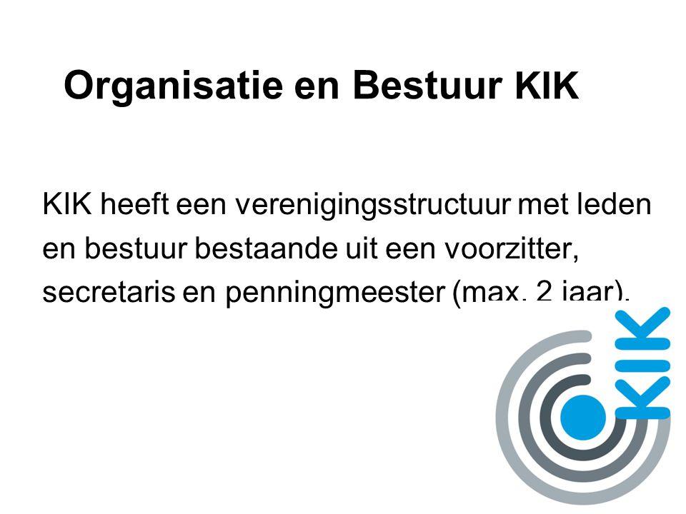 Organisatie en Bestuur KIK KIK heeft een verenigingsstructuur met leden en bestuur bestaande uit een voorzitter, secretaris en penningmeester (max. 2