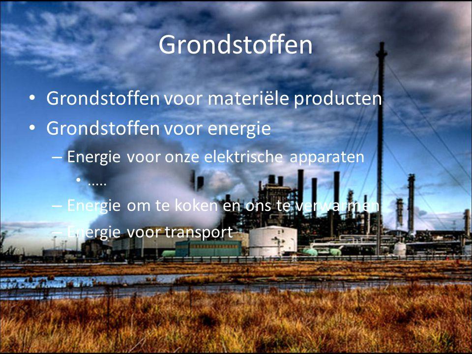 Grondstoffen Grondstoffen voor materiële producten Grondstoffen voor energie – Energie voor onze elektrische apparaten..... – Energie om te koken en o