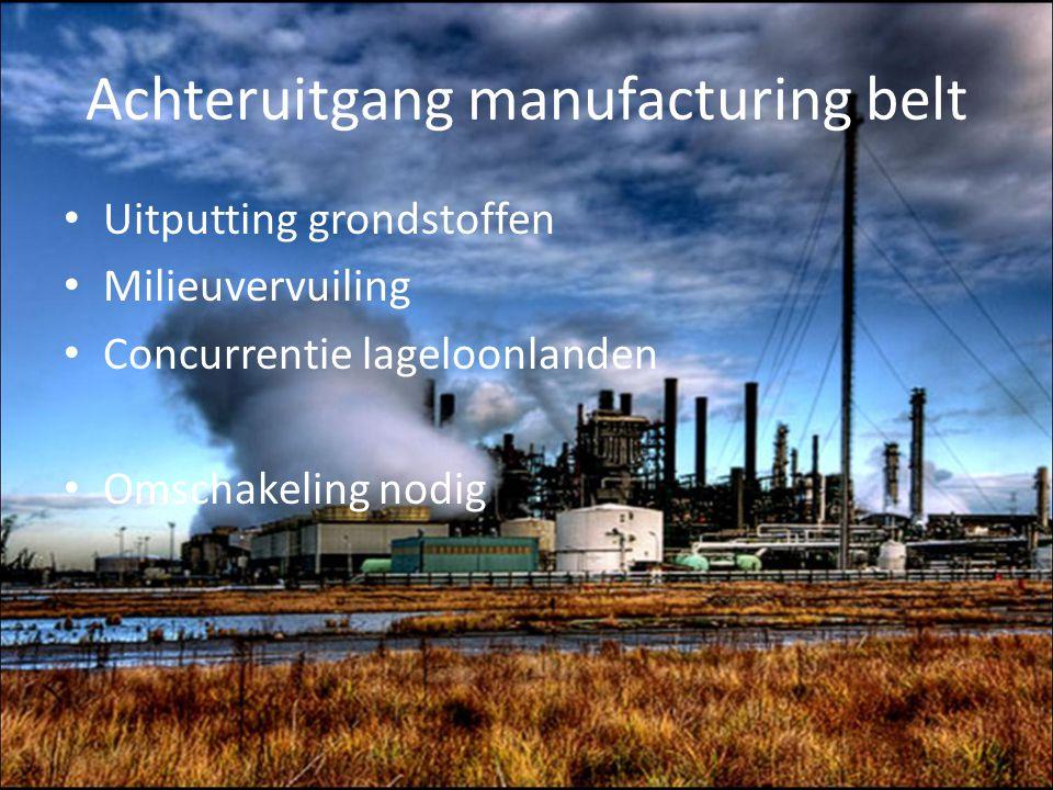 Achteruitgang manufacturing belt Uitputting grondstoffen Milieuvervuiling Concurrentie lageloonlanden Omschakeling nodig