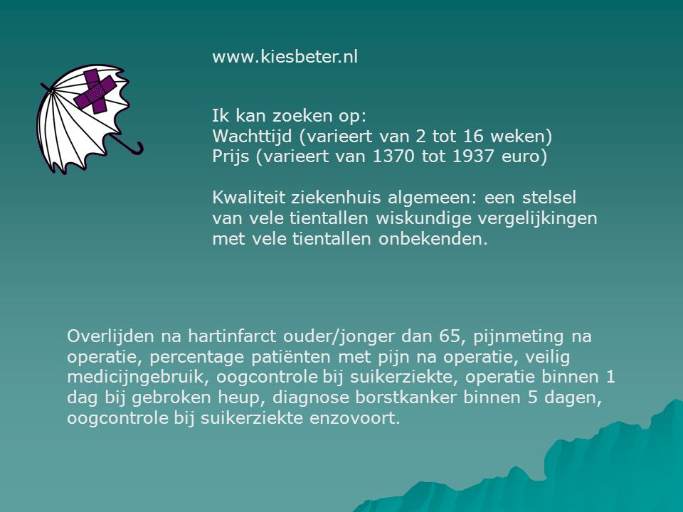 www.independer.nl Zoeken op specialisme en dan krijg je gegevens over zieken- huizen en privé klinieken in straal van gewenst aantal kilometers.