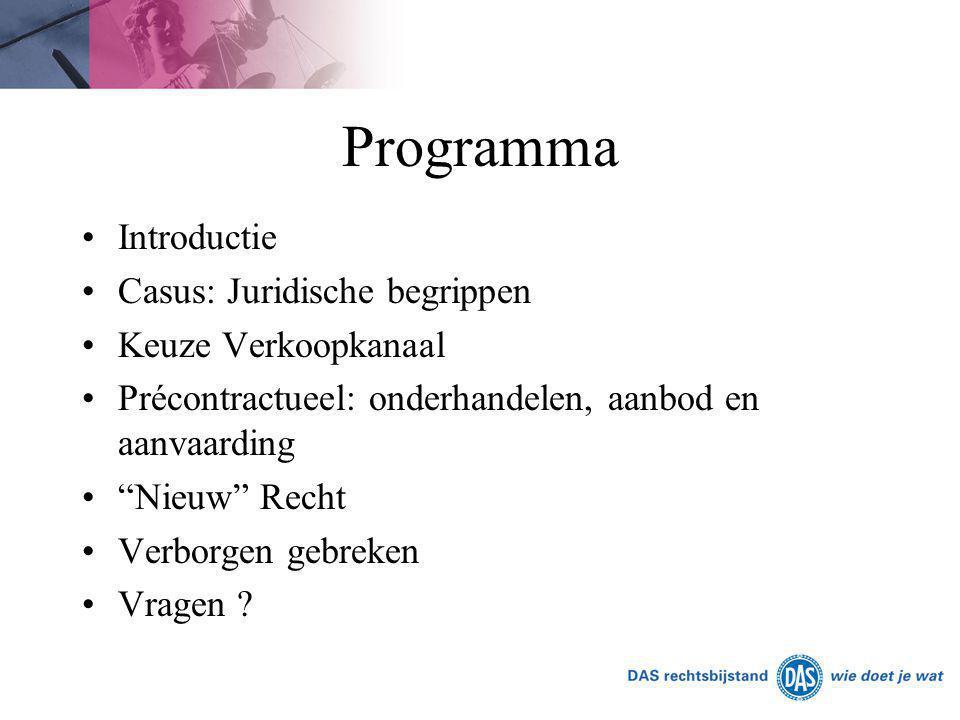 """Programma Introductie Casus: Juridische begrippen Keuze Verkoopkanaal Précontractueel: onderhandelen, aanbod en aanvaarding """"Nieuw"""" Recht Verborgen ge"""