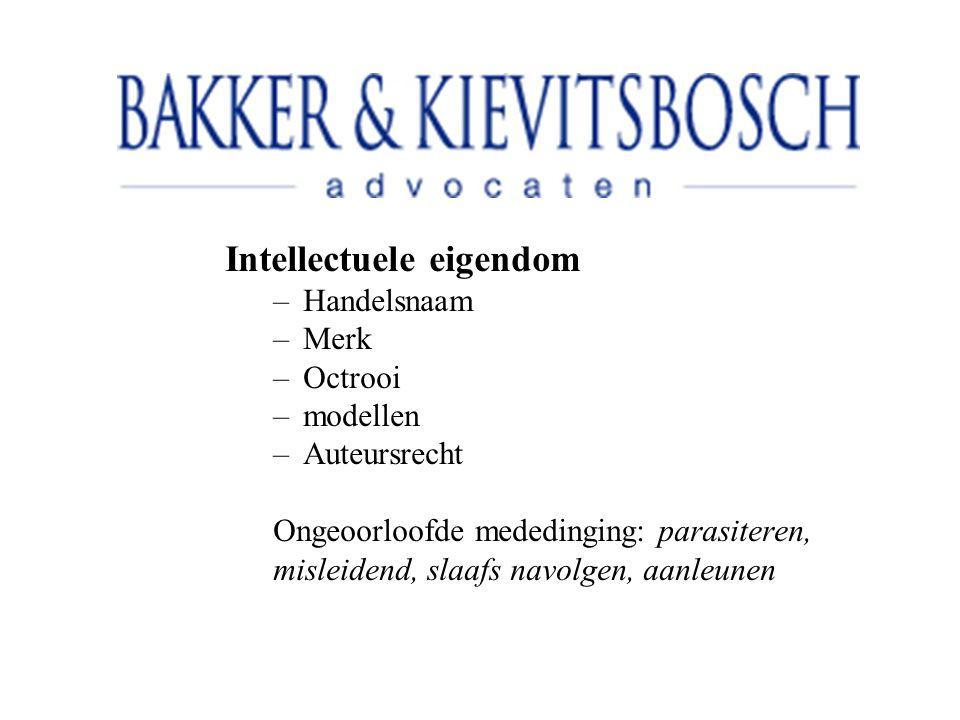 Intellectuele eigendom –Handelsnaam –Merk –Octrooi –modellen –Auteursrecht Ongeoorloofde mededinging: parasiteren, misleidend, slaafs navolgen, aanleunen