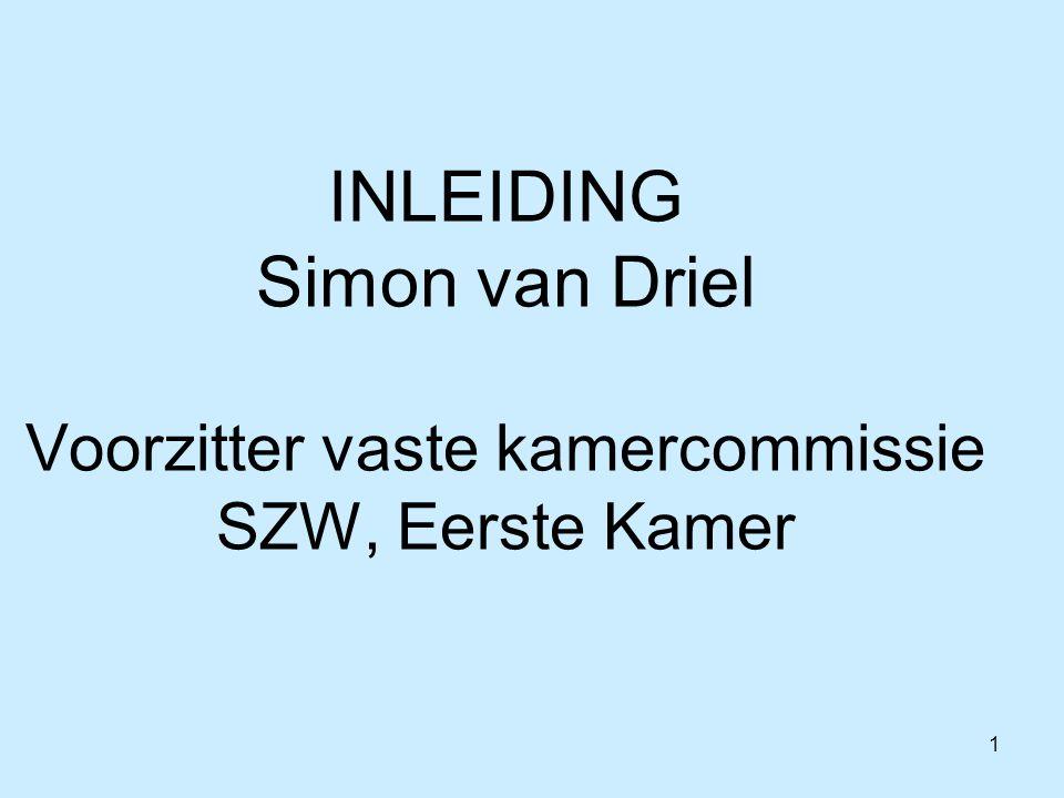 1 INLEIDING Simon van Driel Voorzitter vaste kamercommissie SZW, Eerste Kamer