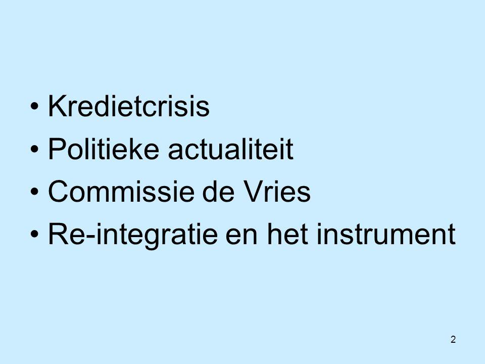 2 Kredietcrisis Politieke actualiteit Commissie de Vries Re-integratie en het instrument