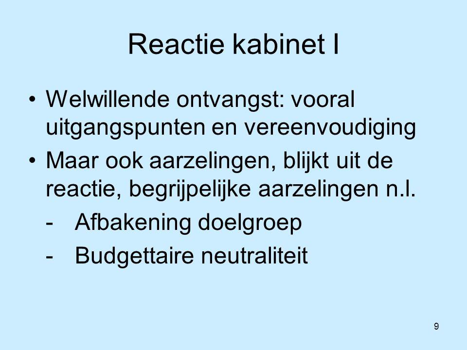 9 Reactie kabinet I Welwillende ontvangst: vooral uitgangspunten en vereenvoudiging Maar ook aarzelingen, blijkt uit de reactie, begrijpelijke aarzelingen n.l.