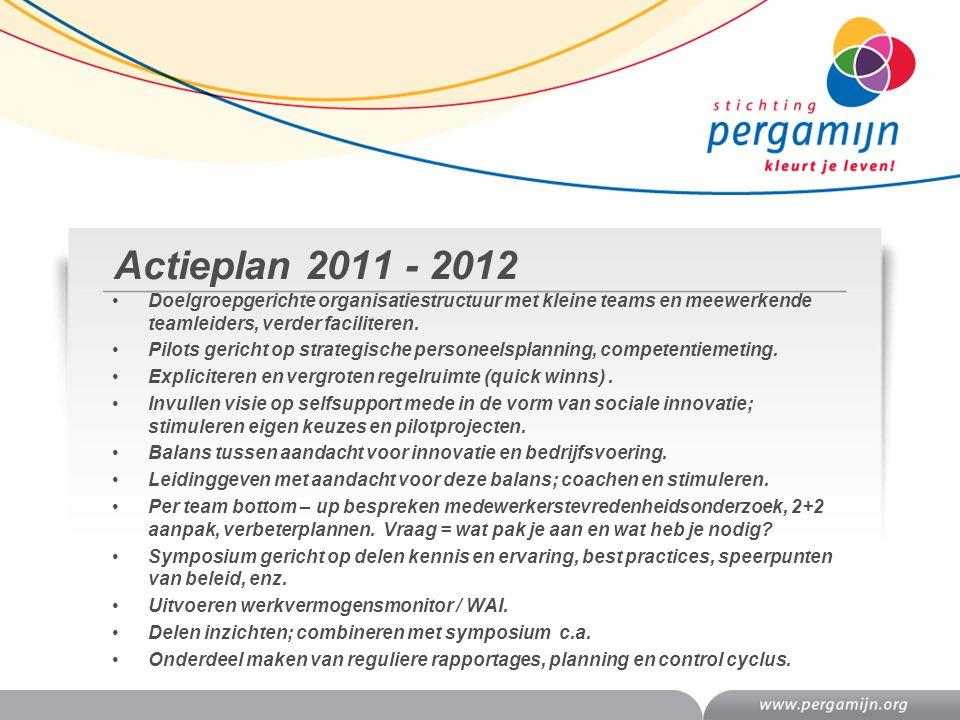 Actieplan 2011 - 2012 Doelgroepgerichte organisatiestructuur met kleine teams en meewerkende teamleiders, verder faciliteren. Pilots gericht op strate