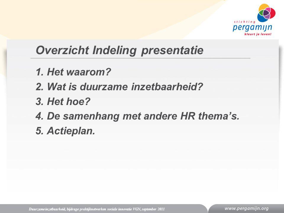 Overzicht Indeling presentatie 1. Het waarom? 2. Wat is duurzame inzetbaarheid? 3. Het hoe? 4. De samenhang met andere HR thema's. 5. Actieplan. Duurz