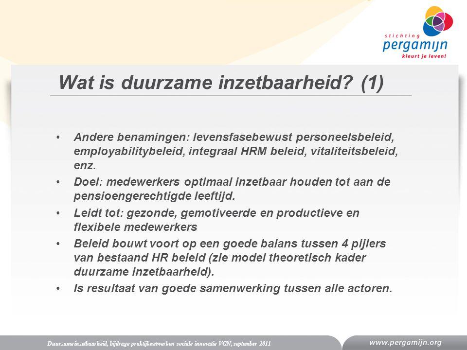 Wat is duurzame inzetbaarheid? (1) Duurzame inzetbaarheid, bijdrage praktijknetwerken sociale innovatie VGN, september 2011 Andere benamingen: levensf