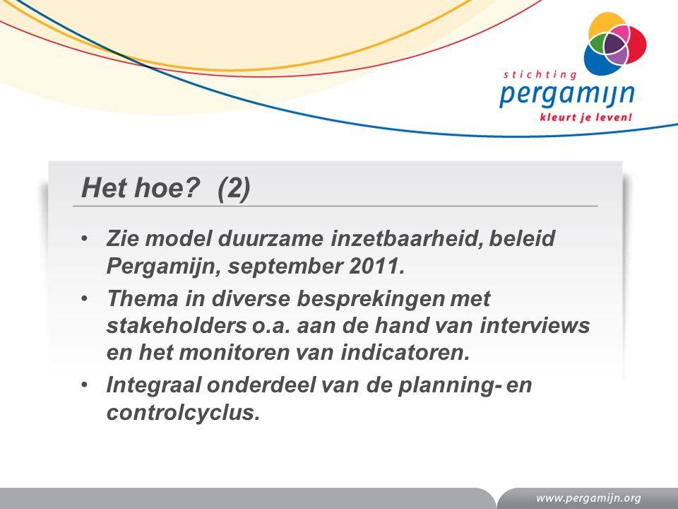 Het hoe? (2) Zie model duurzame inzetbaarheid, beleid Pergamijn, september 2011. Thema in diverse besprekingen met stakeholders o.a. aan de hand van i