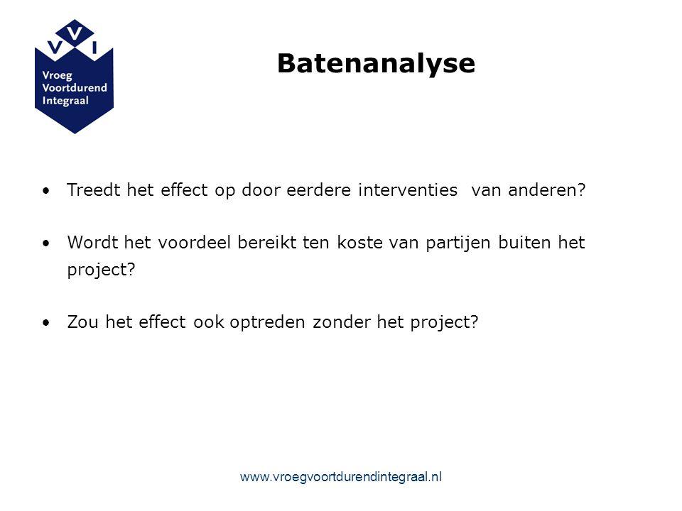 Batenanalyse Treedt het effect op door eerdere interventies van anderen.