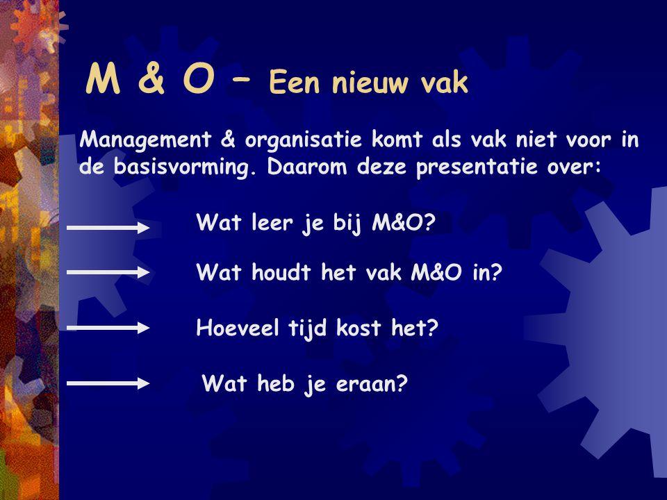 M & O – Een nieuw vak Management & organisatie komt als vak niet voor in de basisvorming. Daarom deze presentatie over: Wat houdt het vak M&O in? Hoev