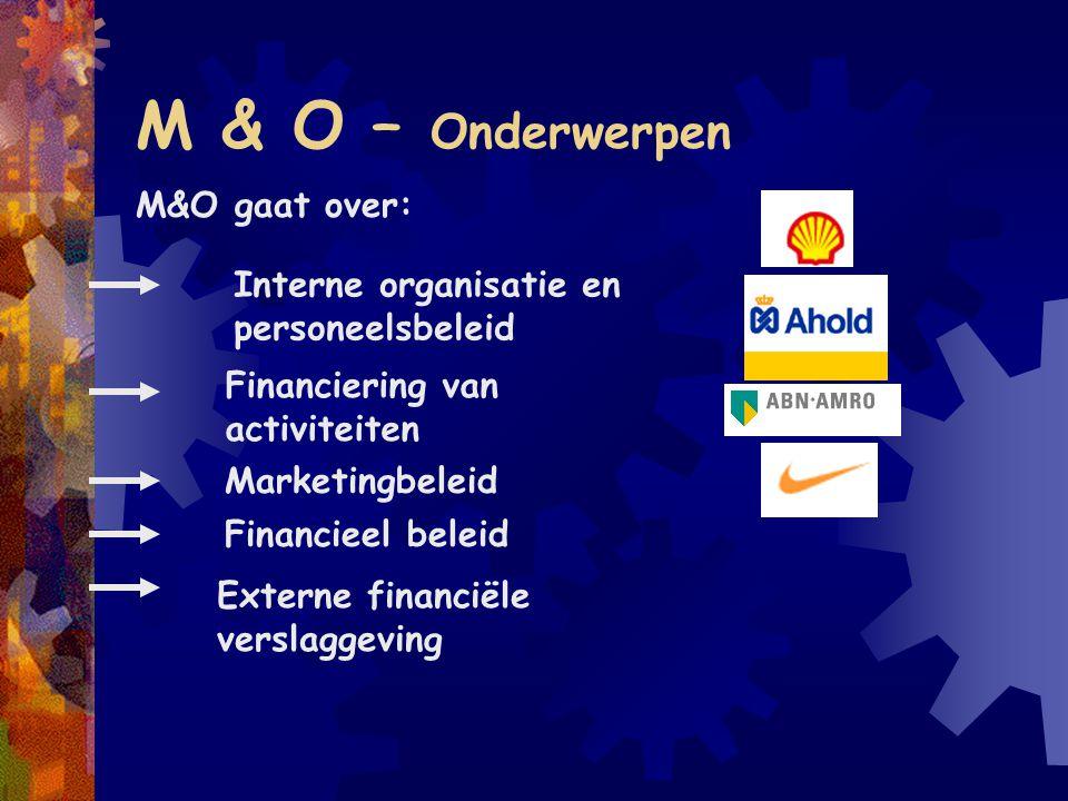 M & O – Onderwerpen M&O gaat over: Interne organisatie en personeelsbeleid Financiering van activiteiten Marketingbeleid Financieel beleid Externe fin