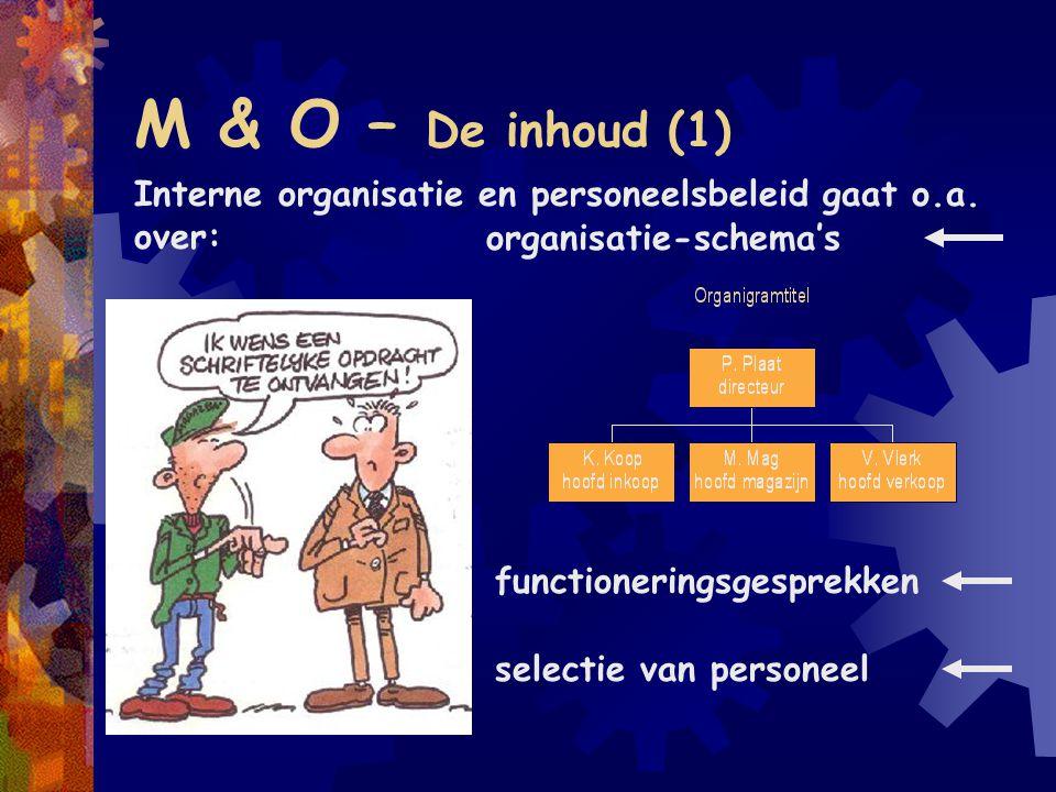 M & O – De inhoud (1) Interne organisatie en personeelsbeleid gaat o.a. over: organisatie-schema's functioneringsgesprekken selectie van personeel