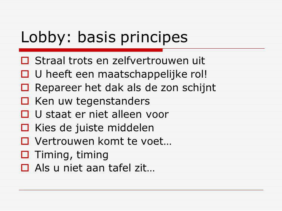 Lobby: basis principes  Straal trots en zelfvertrouwen uit  U heeft een maatschappelijke rol.