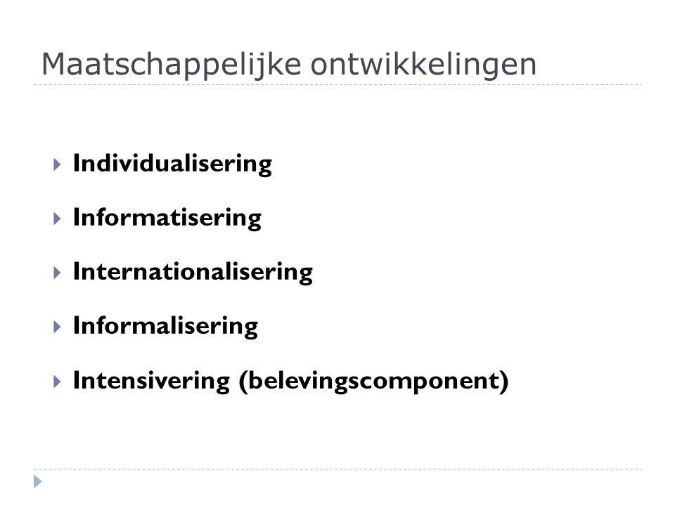 Maatschappelijke ontwikkelingen  Individualisering  Informatisering  Internationalisering  Informalisering  Intensivering (belevingscomponent)