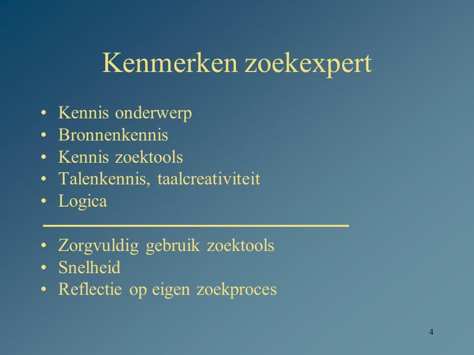 4 Kenmerken zoekexpert Kennis onderwerp Bronnenkennis Kennis zoektools Talenkennis, taalcreativiteit Logica Zorgvuldig gebruik zoektools Snelheid Reflectie op eigen zoekproces