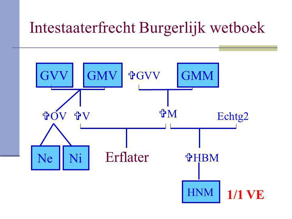 Intestaaterfrecht Burgerlijk wetboek Erflater VV MM GVVGMV  OV NeNi  HBM HNM  GVV GMM Echtg2 1/1 VE