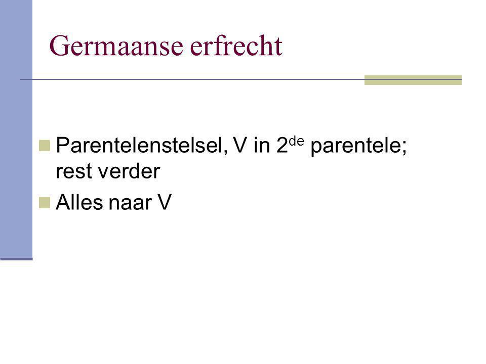 Germaanse erfrecht Parentelenstelsel, V in 2 de parentele; rest verder Alles naar V