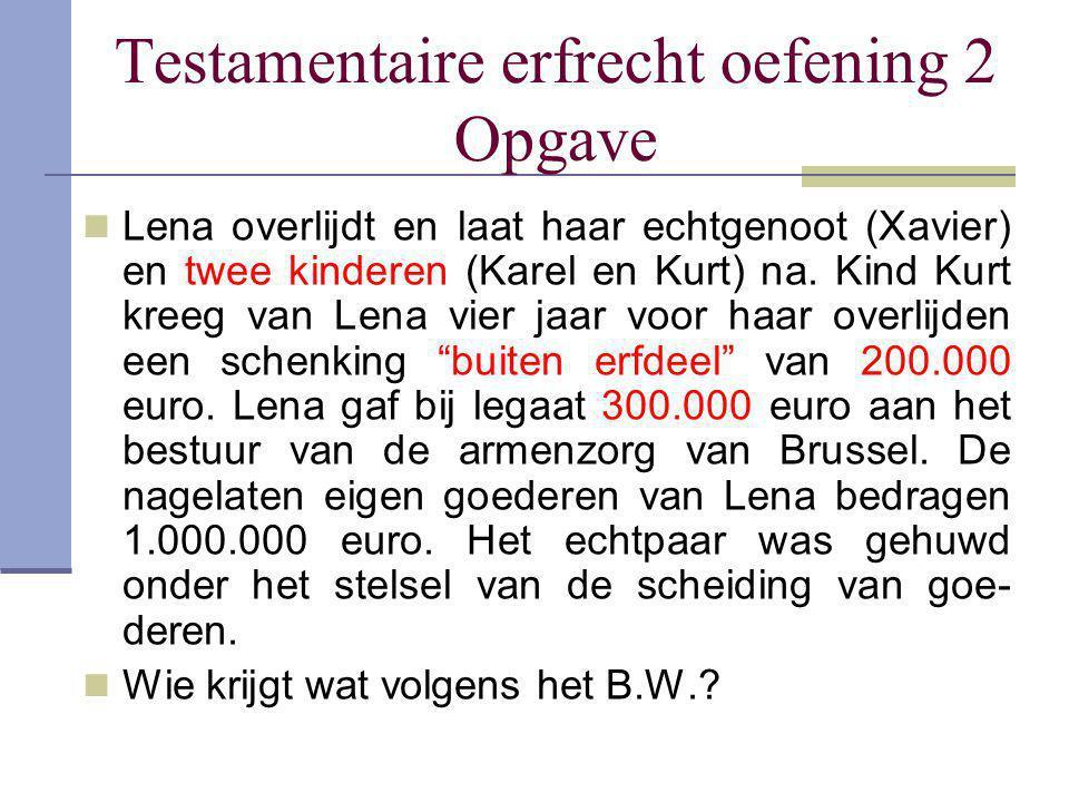 Testamentaire erfrecht oefening 2 Opgave Lena overlijdt en laat haar echtgenoot (Xavier) en twee kinderen (Karel en Kurt) na. Kind Kurt kreeg van Lena