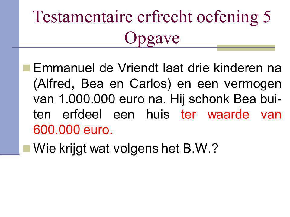 Testamentaire erfrecht oefening 5 Opgave Emmanuel de Vriendt laat drie kinderen na (Alfred, Bea en Carlos) en een vermogen van 1.000.000 euro na. Hij