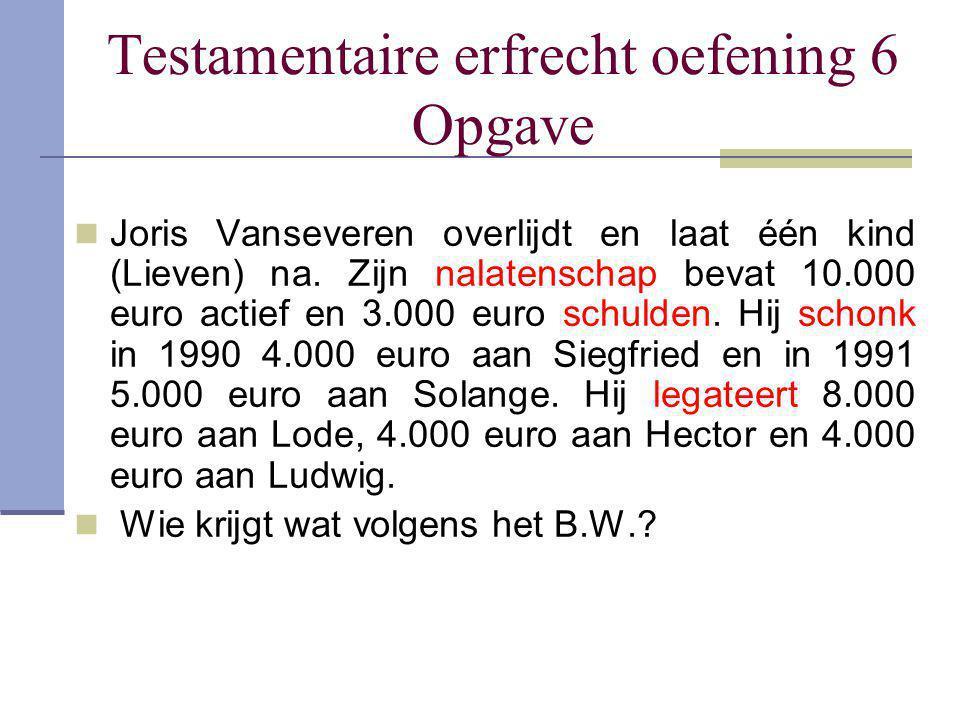 Testamentaire erfrecht oefening 6 Opgave Joris Vanseveren overlijdt en laat één kind (Lieven) na. Zijn nalatenschap bevat 10.000 euro actief en 3.000