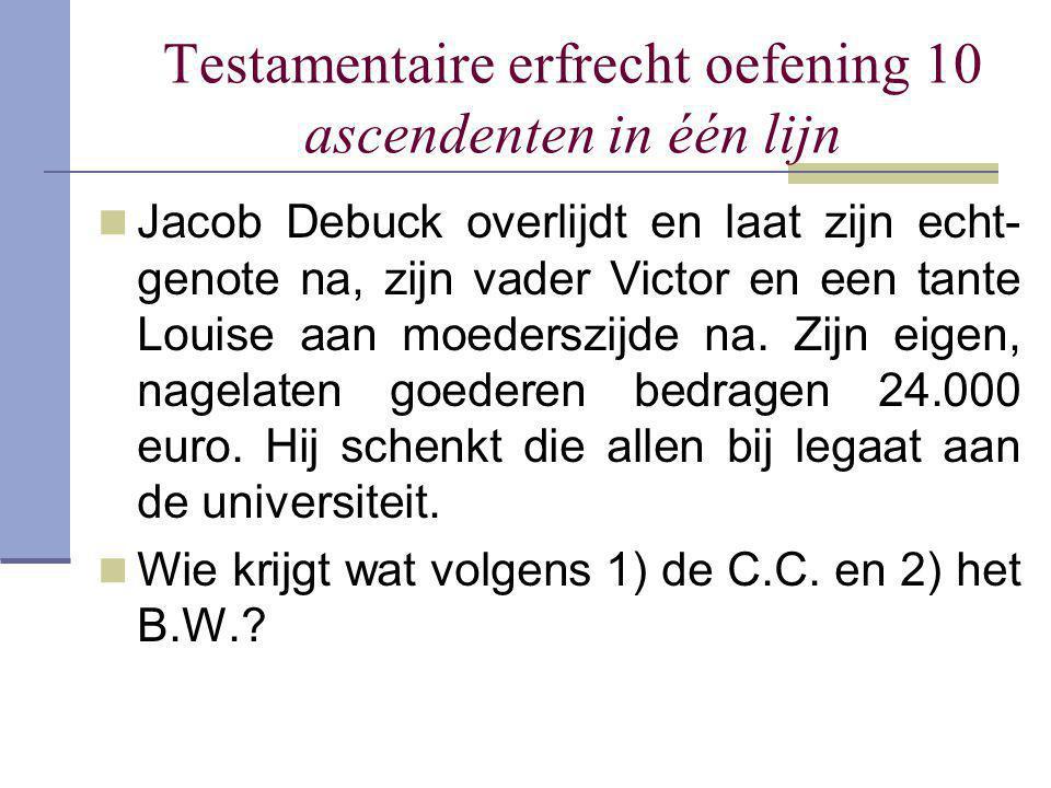 Testamentaire erfrecht oefening 10 ascendenten in één lijn Jacob Debuck overlijdt en laat zijn echt- genote na, zijn vader Victor en een tante Louise