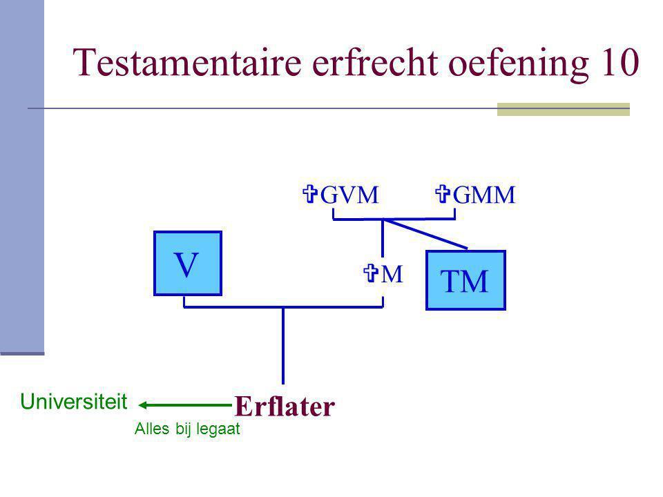 Testamentaire erfrecht oefening 10 Erflater V MM  GVM TM  GMM Universiteit Alles bij legaat