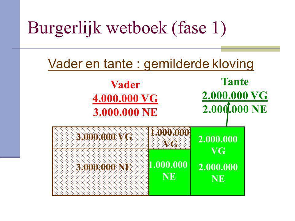 Burgerlijk wetboek (fase 1) 3.000.000 NE 1.000.000 VG Vader 4.000.000 VG 3.000.000 NE Tante 2.000.000 VG 2.000.000 NE 3.000.000 VG 1.000.000 NE 2.000.
