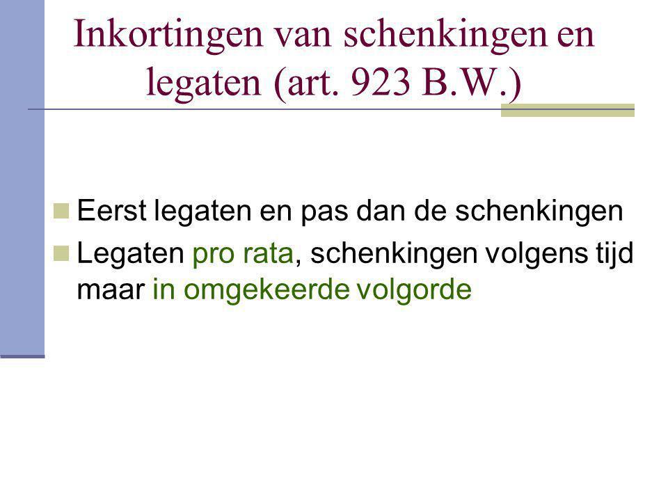 Inkortingen van schenkingen en legaten (art. 923 B.W.) Eerst legaten en pas dan de schenkingen Legaten pro rata, schenkingen volgens tijd maar in omge