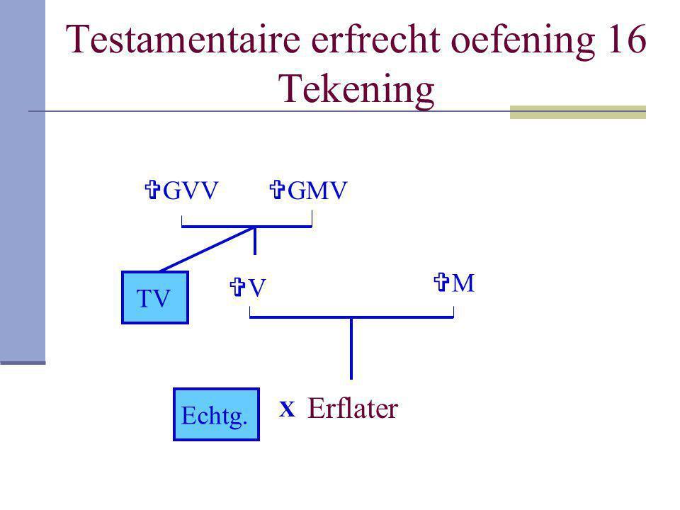 Testamentaire erfrecht oefening 16 Tekening Erflater MM TV  GMV VV X Echtg.  GVV