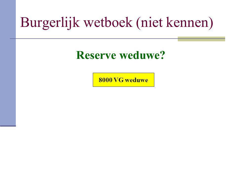 Burgerlijk wetboek (niet kennen) 8000 VG weduwe Reserve weduwe?
