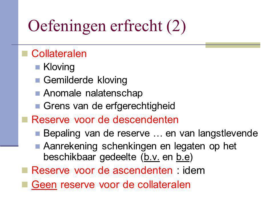 Code Civil Alleen het kind reserve; langstlevende echtge- noot geen reserve Berekening reserve Van de nalatenschap : ½ van gemeenschap (art.