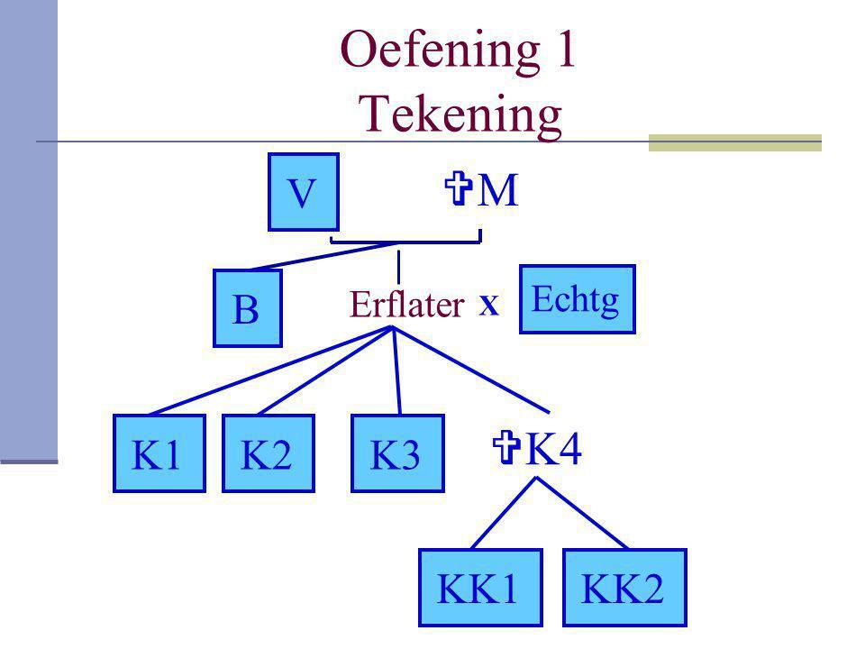 Testamentaire erfrecht oefening 13 Tekening Erflater VV MM B X Echtg B