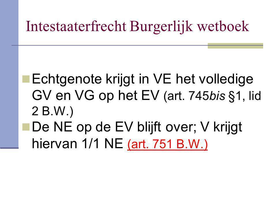 Echtgenote krijgt in VE het volledige GV en VG op het EV (art. 745bis §1, lid 2 B.W.) De NE op de EV blijft over; V krijgt hiervan 1/1 NE (art. 751 B.