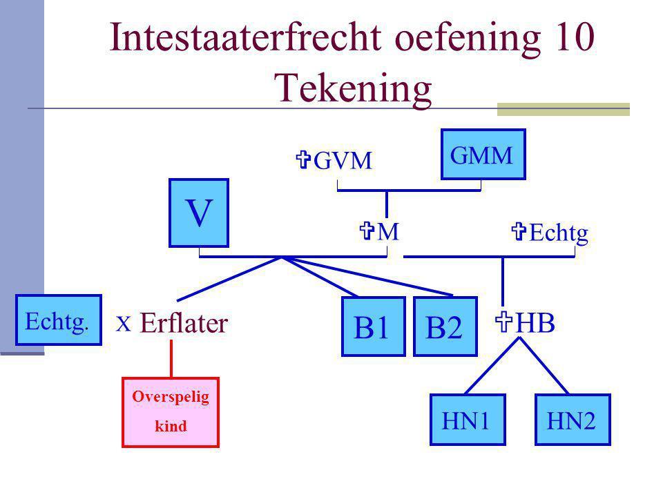 Intestaaterfrecht oefening 10 Tekening Erflater V B1 GMM B2 Echtg. MM  HB HN1HN2 Overspelig kind  GVM  Echtg X