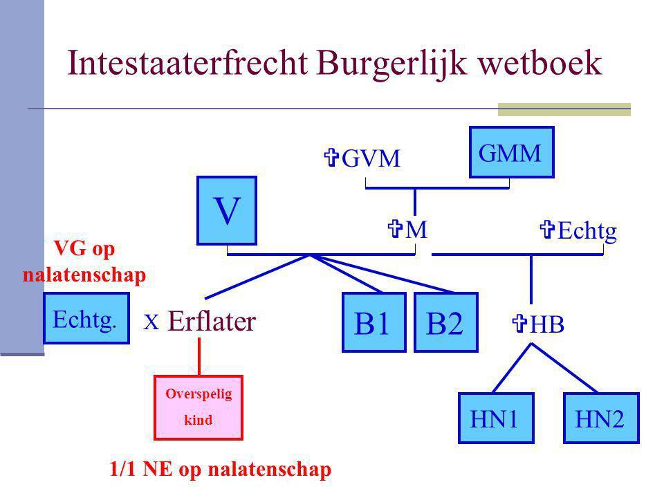 Intestaaterfrecht Burgerlijk wetboek Erflater V B1 GMM B2 Echtg. MM  HB HN1HN2 Overspelig kind  GVM  Echtg X 1/1 NE op nalatenschap VG op nalaten