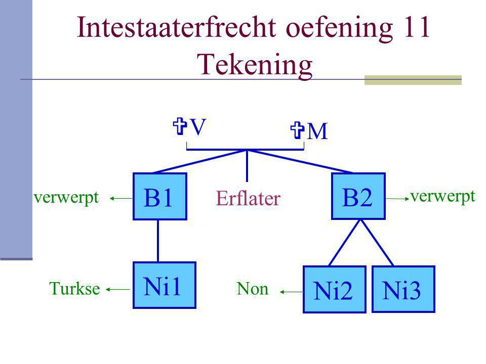 Intestaaterfrecht oefening 11 Tekening Erflater VV B1B1 B2B2 Ni1 Ni2 Ni3Ni3 MM verwerpt TurkseNon