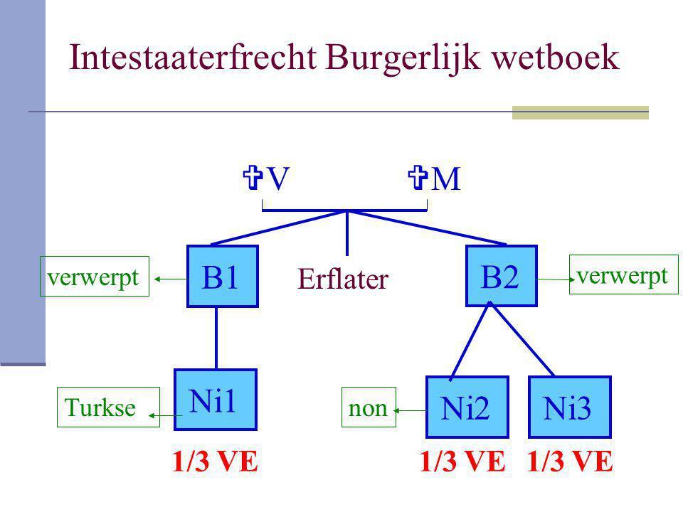 Intestaaterfrecht Burgerlijk wetboek Erflater VV B1B1 B2B2 Ni1 Ni2Ni3Ni3 MM verwerpt Turksenon 1/3 VE