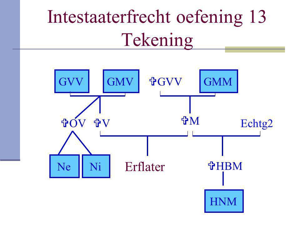 Intestaaterfrecht oefening 13 Tekening Erflater VV MM GVVGMV  OV NeNi  HBM HNM  GVV GMM Echtg2