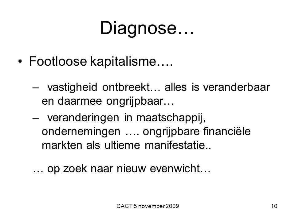 Diagnose… Footloose kapitalisme…. –vastigheid ontbreekt… alles is veranderbaar en daarmee ongrijpbaar… –veranderingen in maatschappij, ondernemingen …