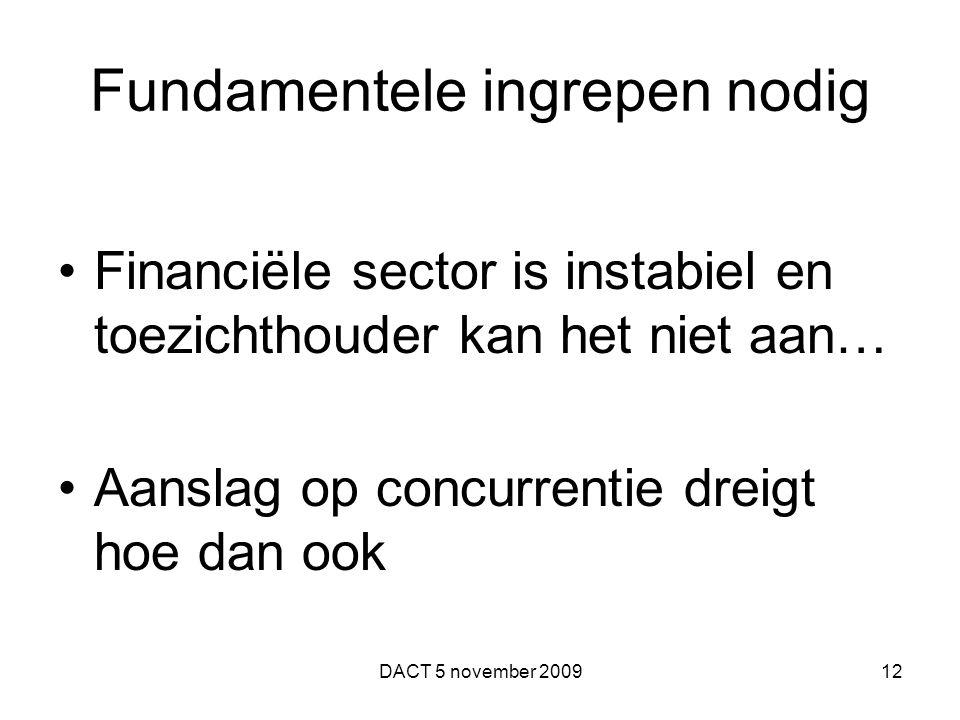 Fundamentele ingrepen nodig Financiële sector is instabiel en toezichthouder kan het niet aan… Aanslag op concurrentie dreigt hoe dan ook DACT 5 novem